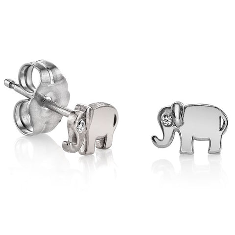 "14K White Gold ""Elephant"" Earrings with Bezel Set Diamond"