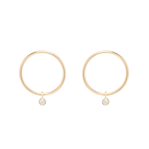 Zoe Chicco Small Gold Circle Stud Earrings with Dangling Diamonds