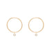Small Gold Circle Stud Earrings with Dangling Diamonds