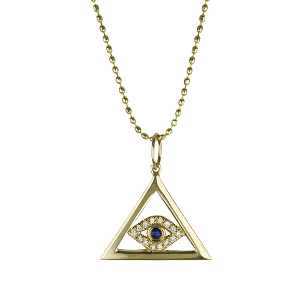 "Sydney Evan Gold and Diamond ""Evil Eye"" Necklace with Blue Sapphire"