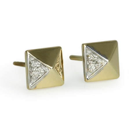 "Gold and Diamond ""Small Pyramid"" Post Earrings"