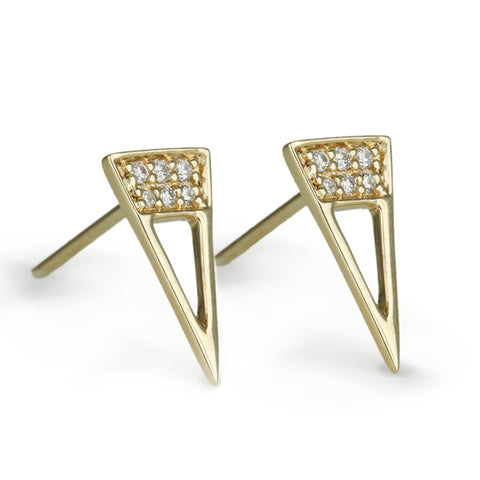 "Gold and Diamond ""Open Triangle"" Post Earrings"