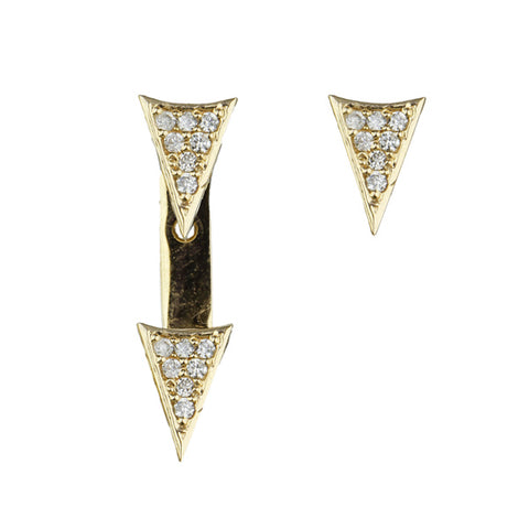 "Gold and Diaond ""Triangle"" Post Earrings with Jacket"