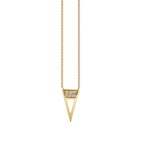 "Gold and Diamond ""Open Triangle"" Necklace"