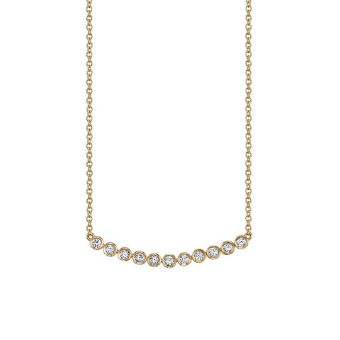 Gold and Diamond Curved Bar Necklace