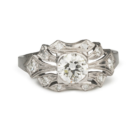 Vintage Platinum Ring with Old European Cut Diamond