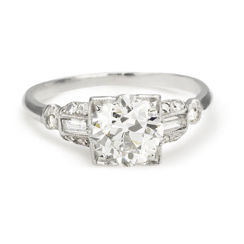 Vintage Platinum Ring with Old European Cut Center Diamond