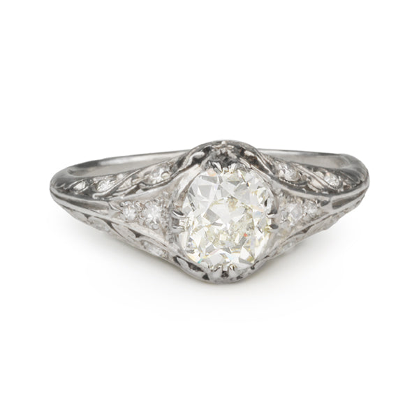 Vintage Platinum Ring with Oval Cushion-Cut Diamond