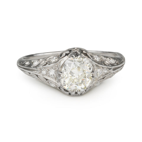 Vintage Collection Vintage Platinum Ring with Oval Cushion-Cut Diamond