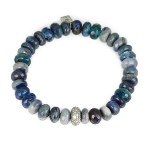 Australian Opal, Kyanite and Wide Diamond Rondelle Beaded Bracelet