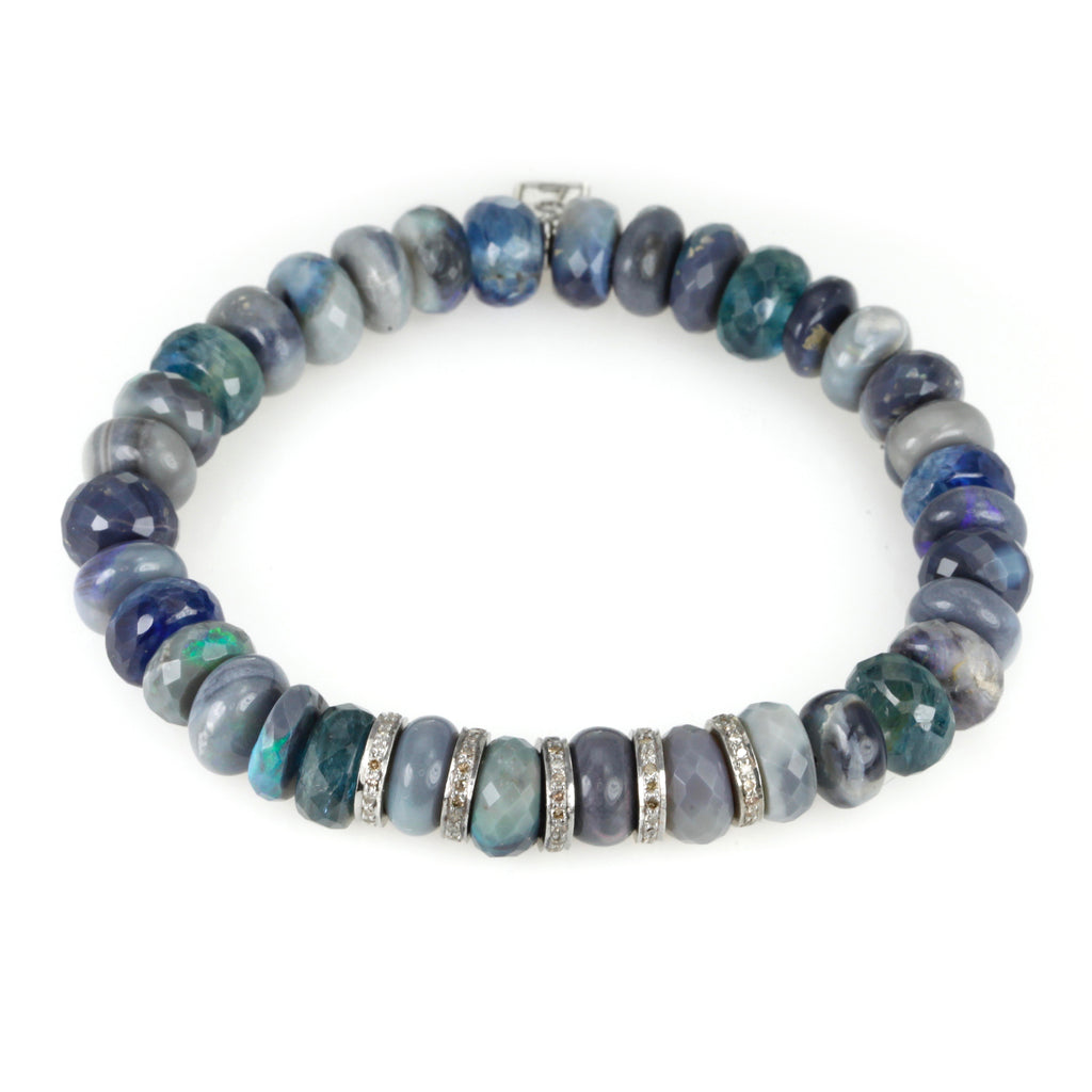 Opal, Kyanite and Five Diamond Rondelle Beaded Bracelet