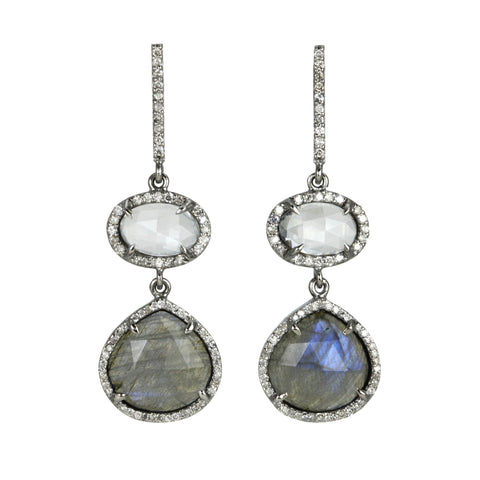White Topaz, Labradorite and Diamond Double Drop Earrings