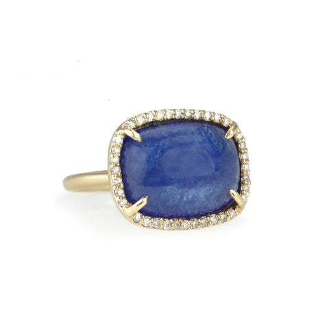 Rectangular Tanzanite and Pave Diamond Ring