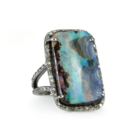"Boulder Opal and Pave Diamond ""Free Form"" Ring"