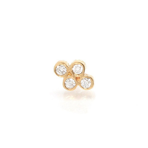 "14 Karat Yellow Gold Bezel-Set ""Quad"" Diamond Stud Earring. ..."