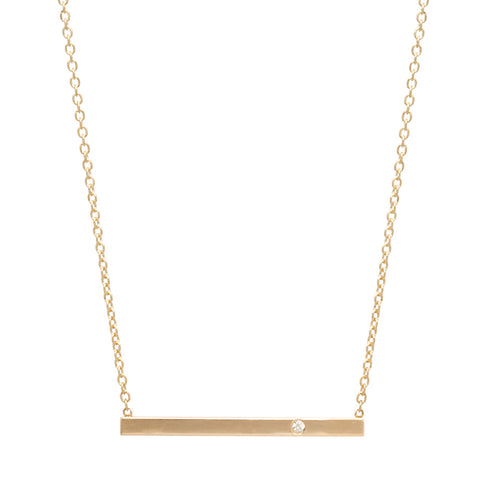 Gold Bar Necklace with Offset Diamond