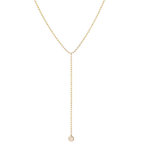 Gold Bead Chain Lariat Necklace with Diamond