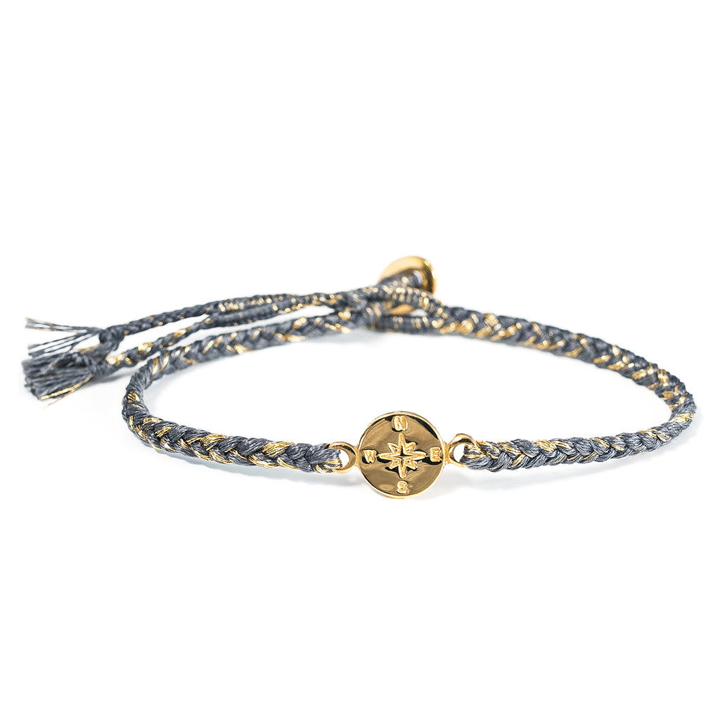 "Brass ""Compass"" Bracelet on Slate Grey Mix Cotton Cord"