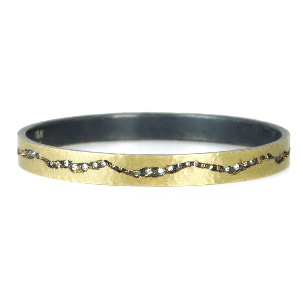 "Hammered Gold ""Thin Fissure"" Bracelet with Inverted Diamonds"