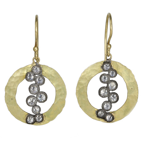 TAP by Todd Pownell Hammered Gold Open Circle Drop Earrings with Blackened Gold Bezel-Set Inverted Diamonds