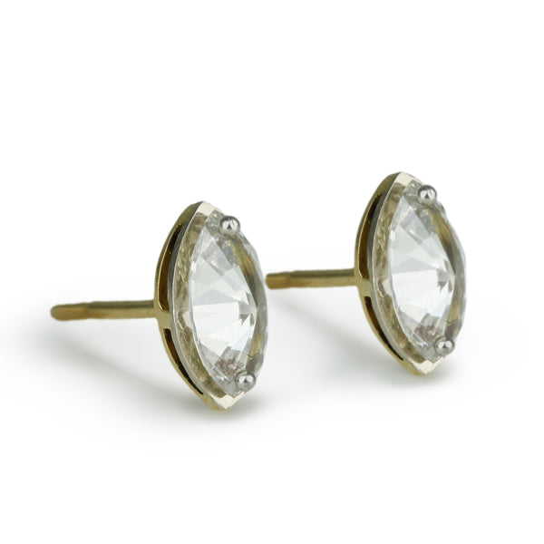 Inverted Marquis Diamond Post Earrings