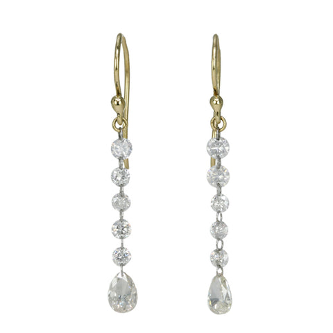 Gold and Five Diamond Drop Earrings