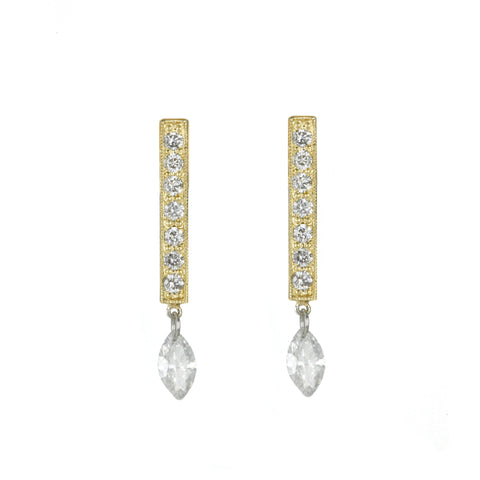 "Gold and Diamond ""Bar"" Earrings"