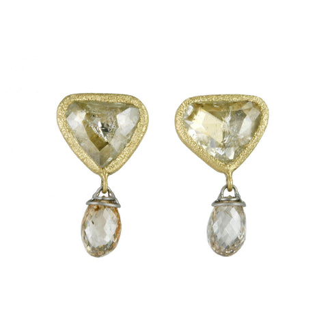 Gold and Champagne Trillon Diamond Post Earrings