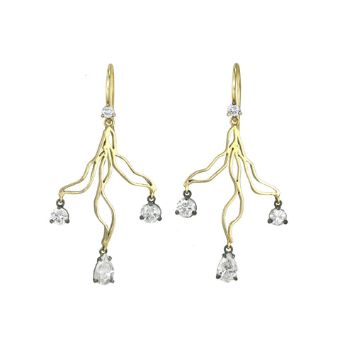 "18 Karat Yellow Gold ""Branch"" Earrings with Dangling Round and Pear-Shaped Diamonds"