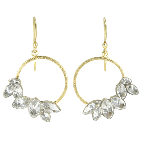 Gold Front-Facing Hoop Earrings with Inverted Marquise Diamonds