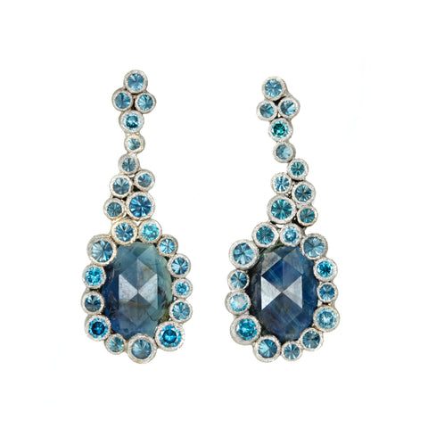White Gold and Dark Blue Sapphire Earrings with Blue Diamonds