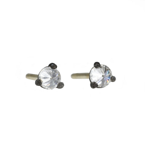 TAP by Todd Pownell Blackened Prong-Set Inverted Diamond Studs