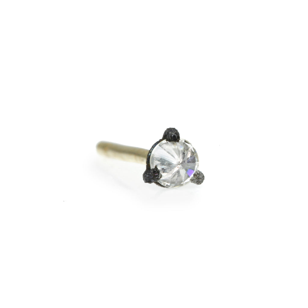 Blackened Prong-Set Inverted Diamond Stud