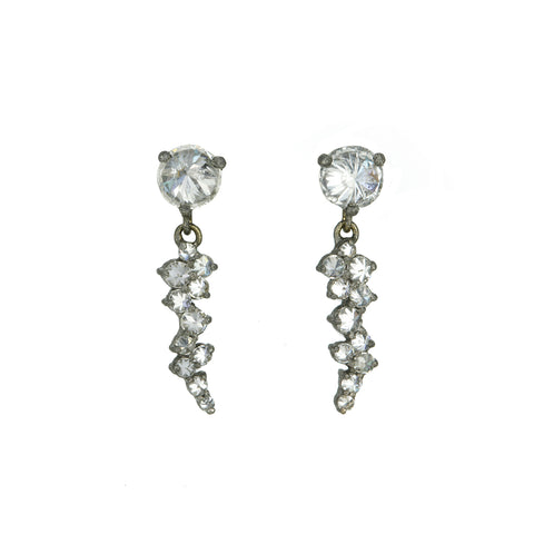 TAP by Todd Pownell Blackened Gold Prong-Set Inverted Diamond Earrings