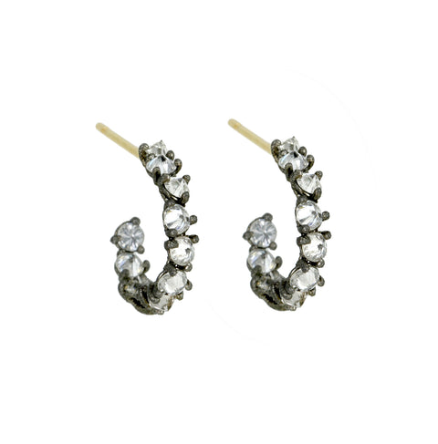 TAP by Todd Pownell Blackened White Gold Inverted Round Diamond Small Hoop Earrings