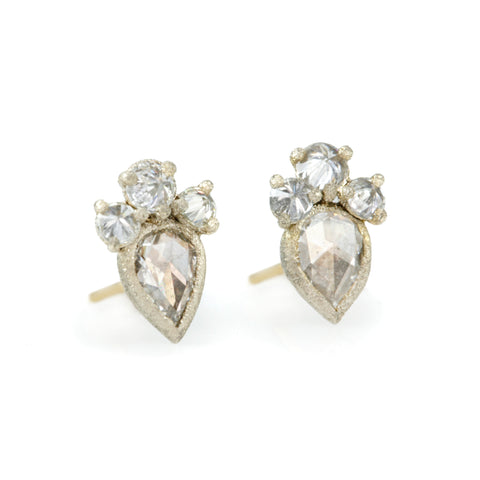 TAP by Todd Pownell Rosecut Diamond Studs with Inverted Diamond Detail