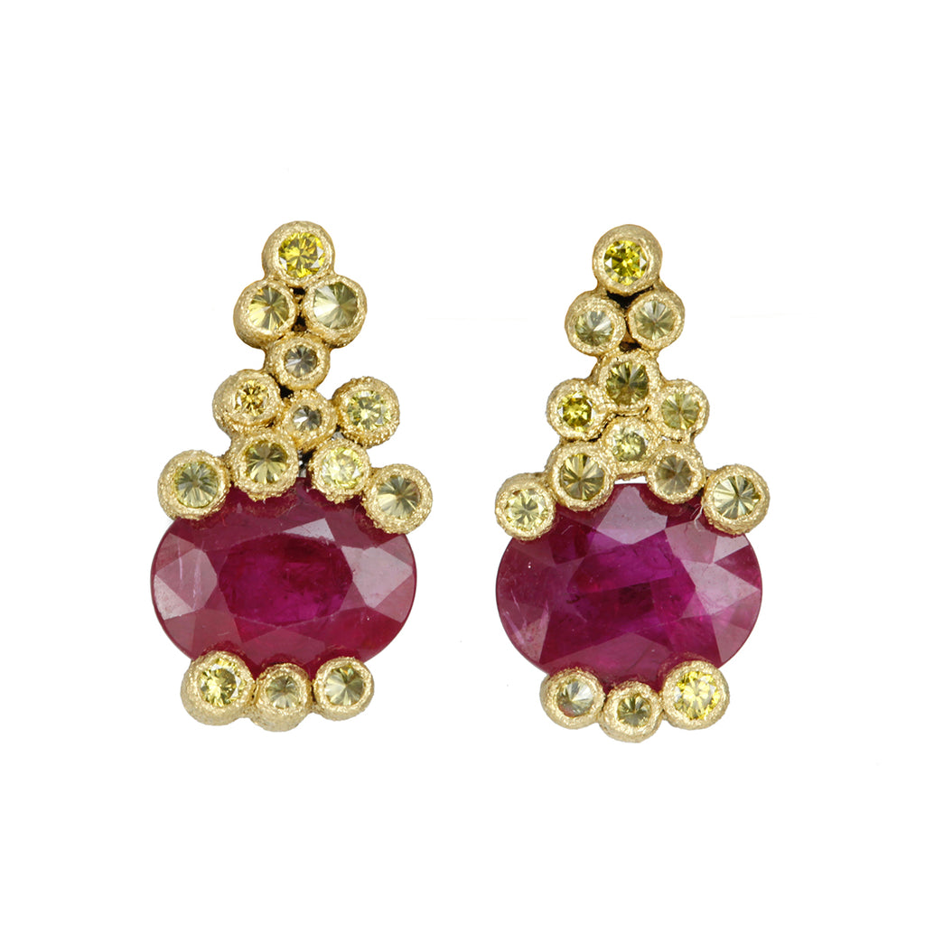 Yellow Gold and Oval Ruby Post Earrings