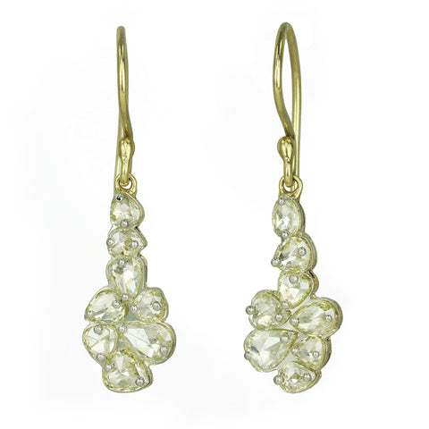 TAP by Todd Pownell Pin-Set Pale Yellow Rose Cut Diamond Earrings
