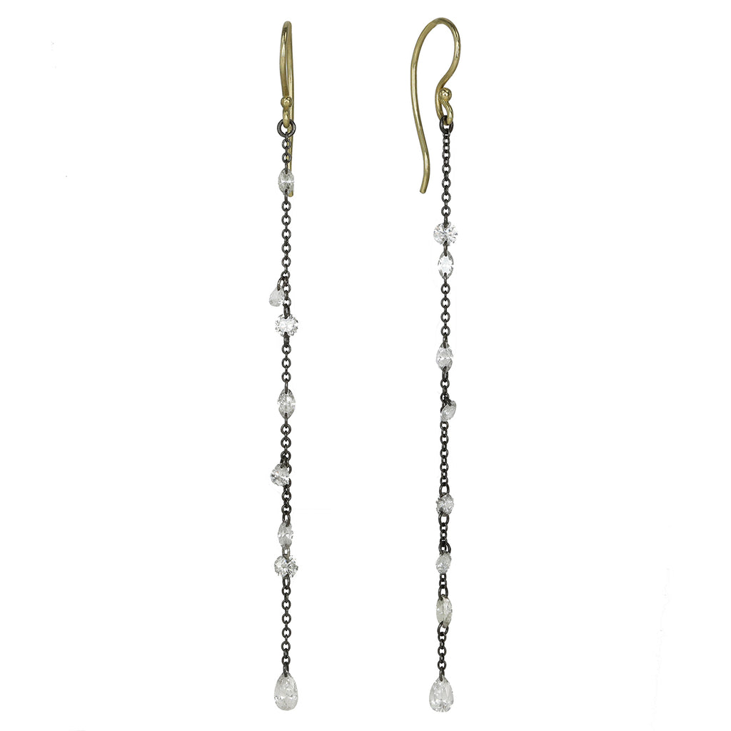 TAP by Todd Pownell Blackened Chain Drop Earrings with Free-Set Diamonds