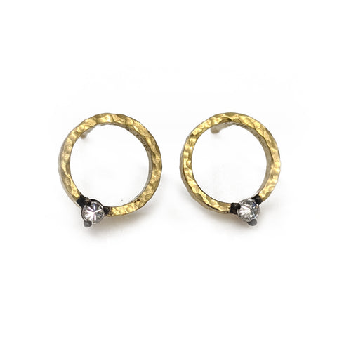 Gold Hammered Open Circle Earrings with Single Blackened Inverted Diamond