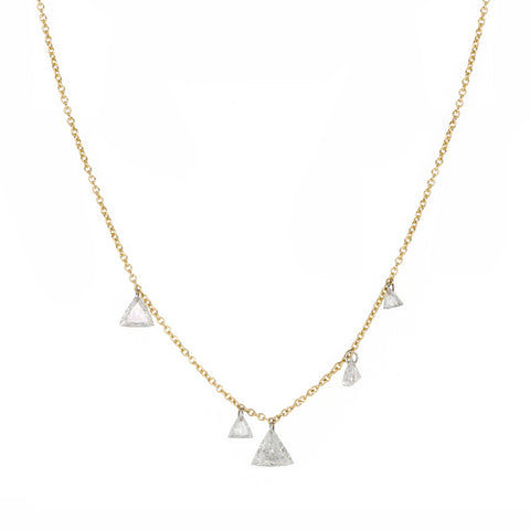 Gold Five Free-Set Trillion Diamond Necklace