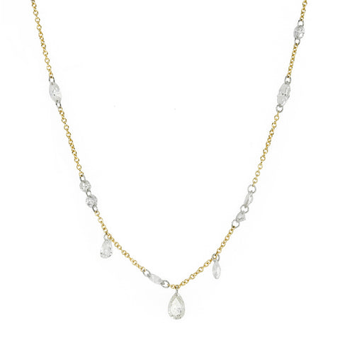 Gold Two Carat Free-Set Diamond Necklace
