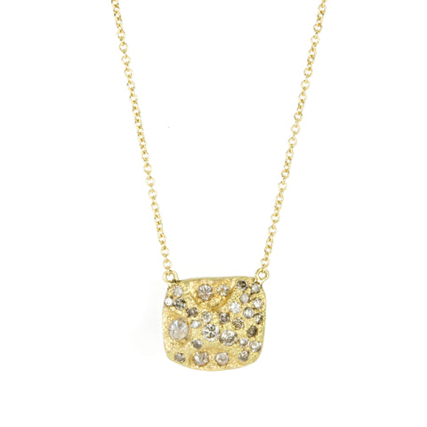 Gold Square Pendant Necklace with Bead Set and Inverted Diamonds