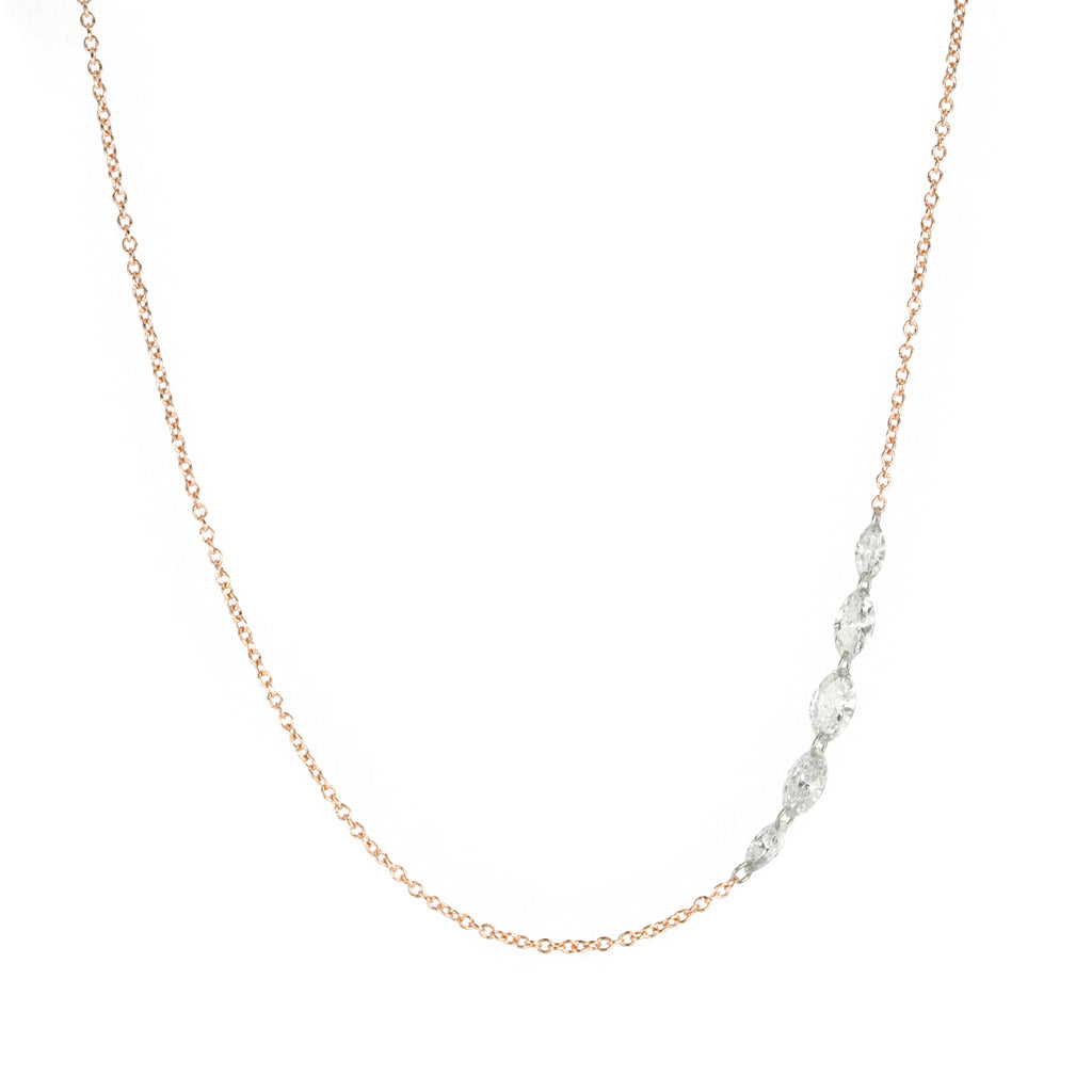 Rose Gold Necklace with Five Free Set Marquise Diamonds