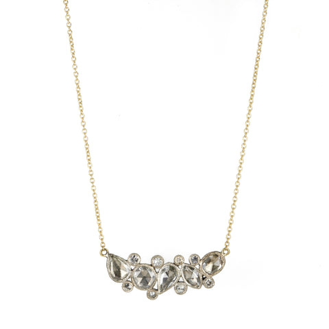 Yellow and White Gold Necklace with Rosecut and Inverted Diamonds