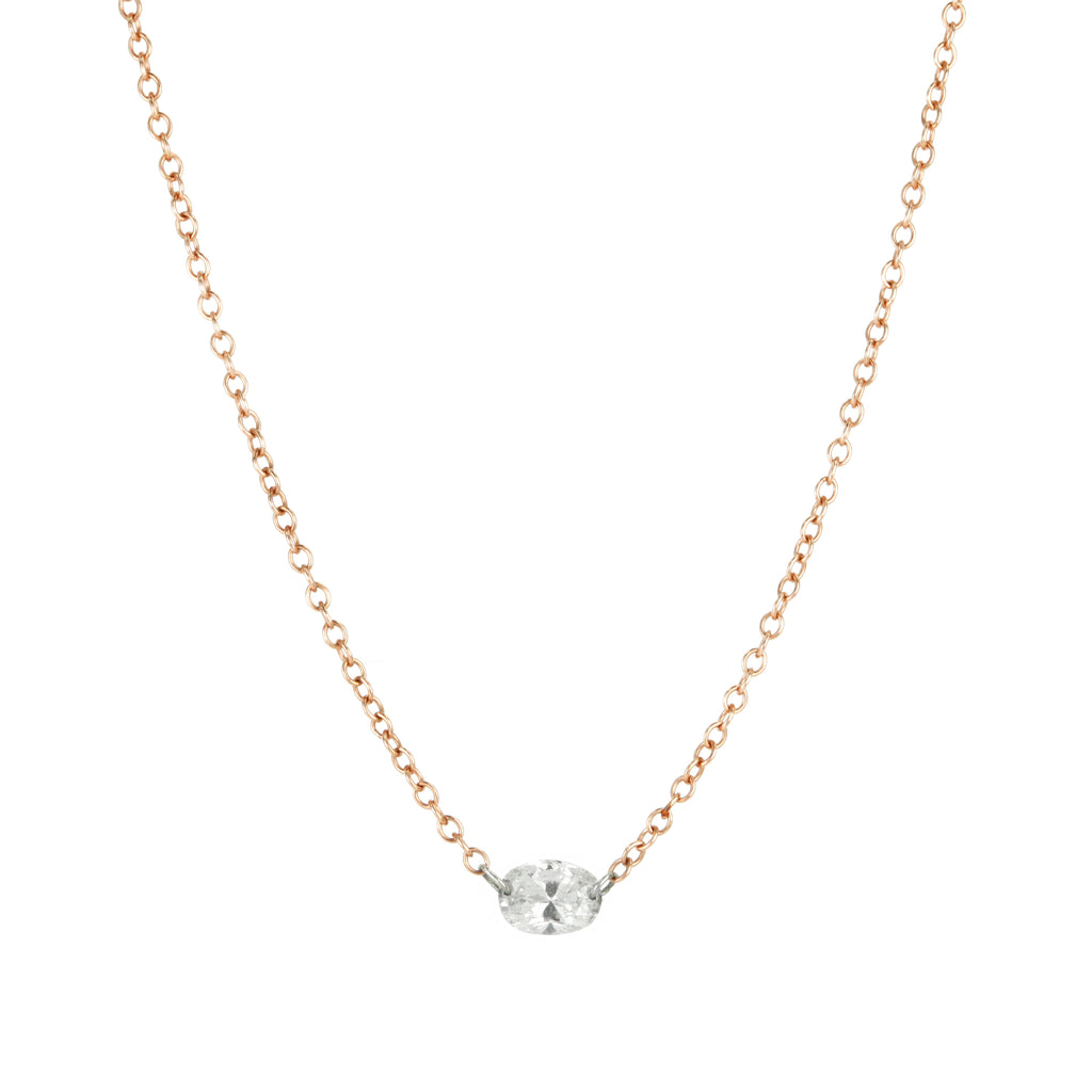 TAP by Todd Pownell Rose Gold Necklace with Free-Set Oval Diamond