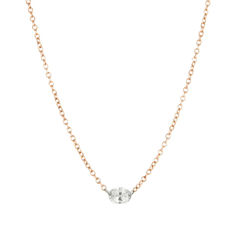 Rose Gold Necklace with Free-Set Oval Diamond