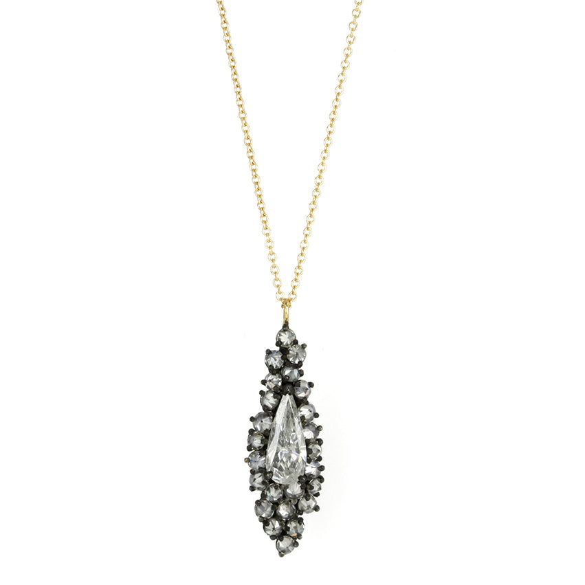 Long Pear-Shaped Diamond Drop Necklace in Blackened Prongs