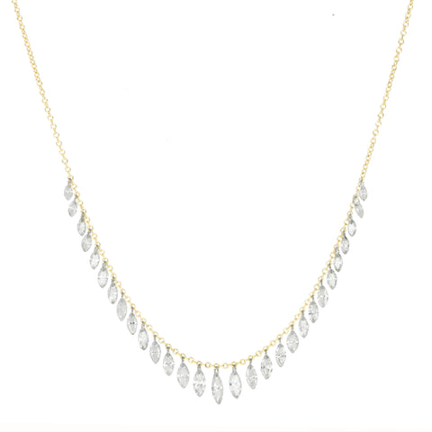 Free-Set Marquise Diamond Fringe Necklace