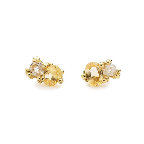 Gold and Yellow Sapphire Post Earrings with Diamonds